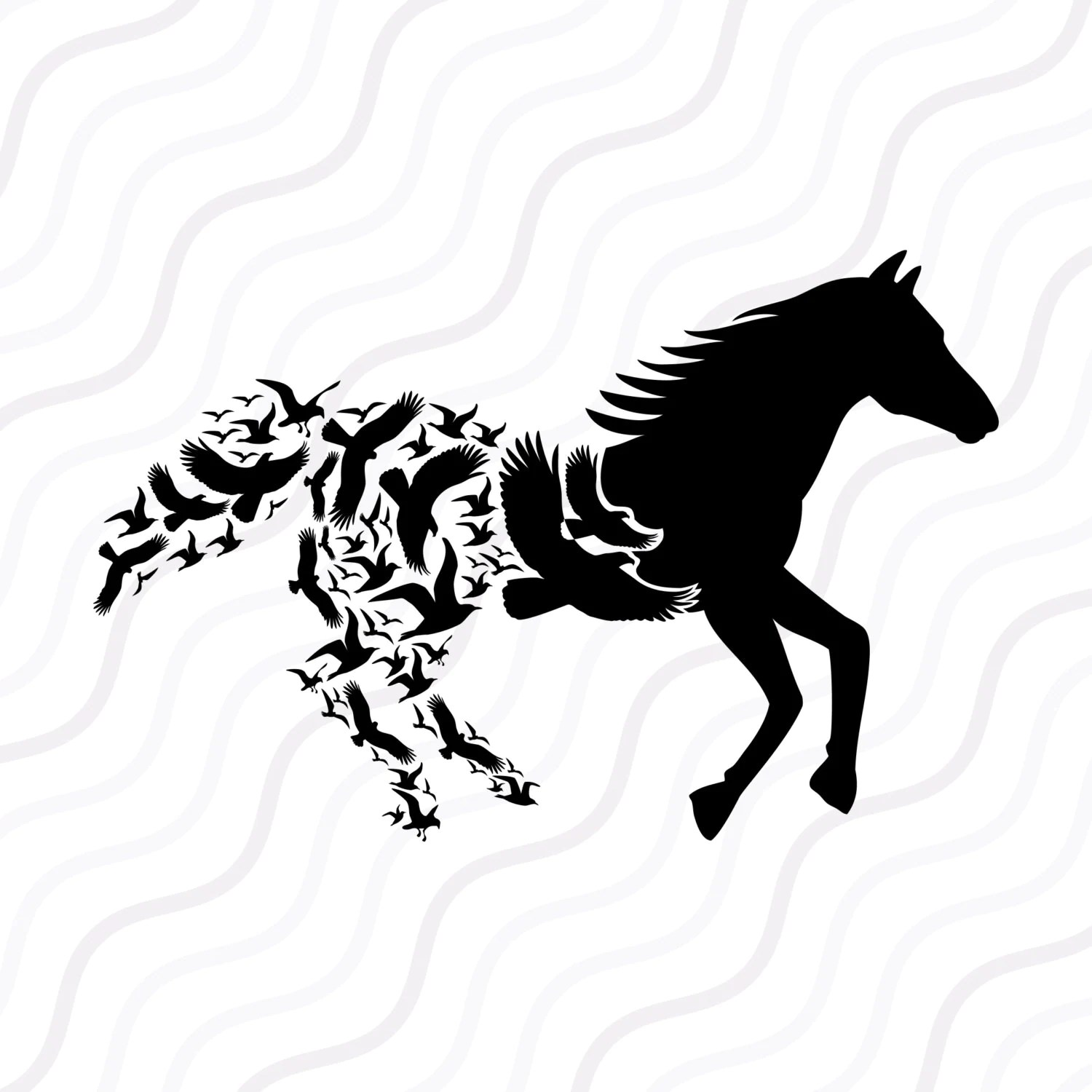 Horse With Birds Svg Birds Svg Horse Svg Cut Table