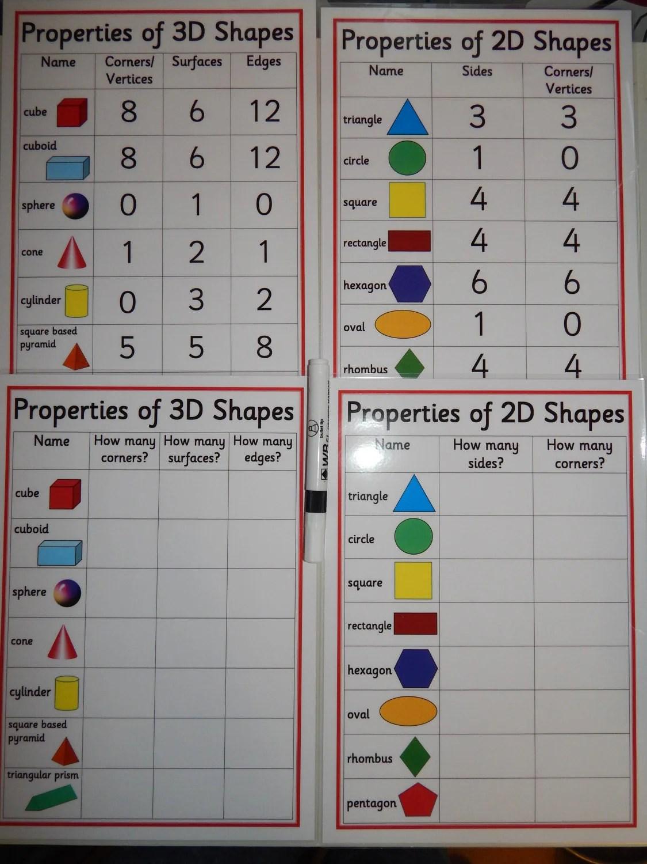 Properties Of 2d 3d Shapes A4 Poster Pack Ks1 Ks2