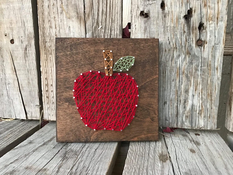 Apple Wood String Art Sign Hand Made Teacher T Peraonalized