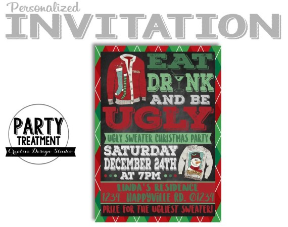 Eat Drink and Be Ugly. Ugly Sweater Christmas Party Invitation by Party Treatment recommended by Arrow and Bliss