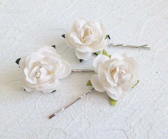 Ivory Rose Clips Wedding Hair Accessories Bridal Hair Clips