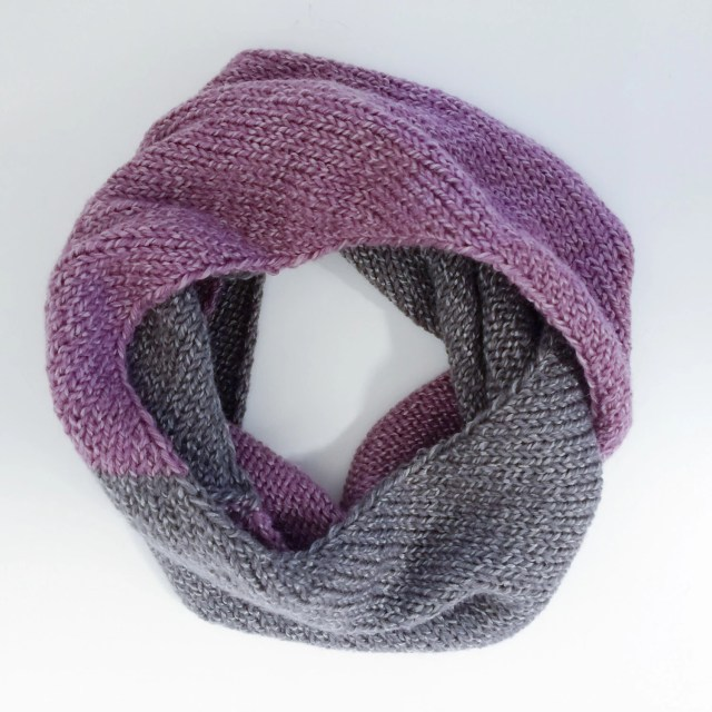 Purple and gray scarf, me...