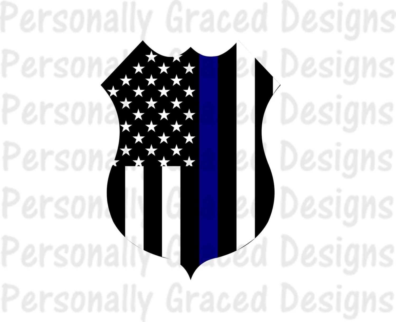 Svg Dxf Eps Cut File Police Shield Badge Flag Thin Blue Line