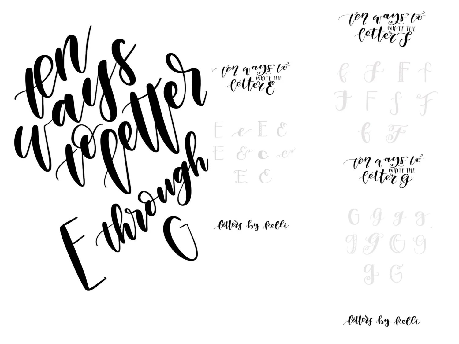 Ten Ways To Letter E Through G Hand Lettering Practice