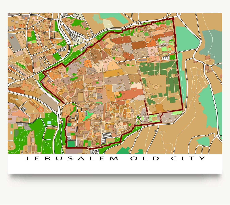 Jerusalem Map Jerusalem Israel Old City Art Print Jerusalem