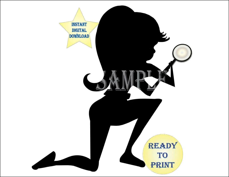 Girl Spy Silhouette Printable 3 Sizes 5 Files Female Detective