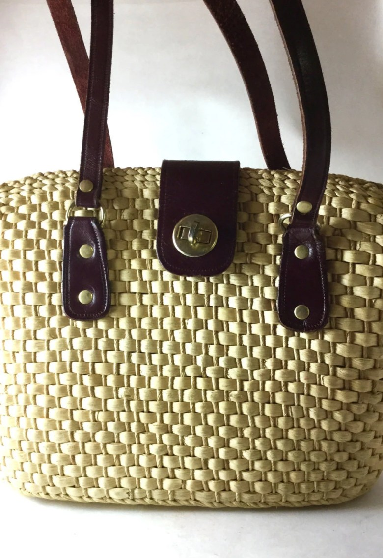 VintageStraw Purse with L...