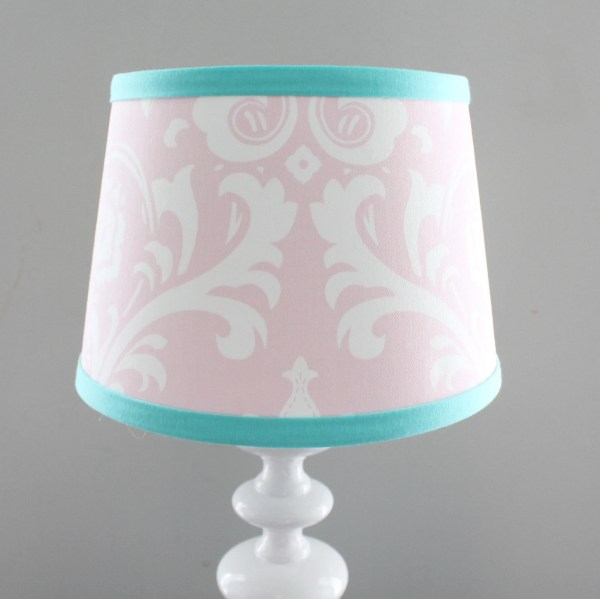 Light Pink Damask with accent aqua Nursery Lamp shade