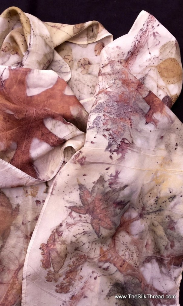 "Stunning Silk Scarf, designs & colors from oak and japanese maples, eco printed by artist, all natural, sustainable, renewable art, 8"" x 72"""