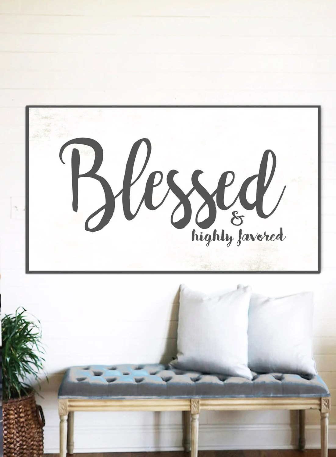 BLESSED SIGN Rustic Sign Gift for Her Home Decor Farmhouse on Home Wall Decor Signs id=27838