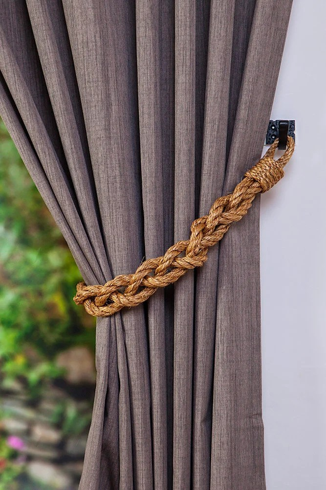 Chunky Braided Manila Rope Curtain Tiebacks Nautical Boho Beach Rustic Industrial Rope