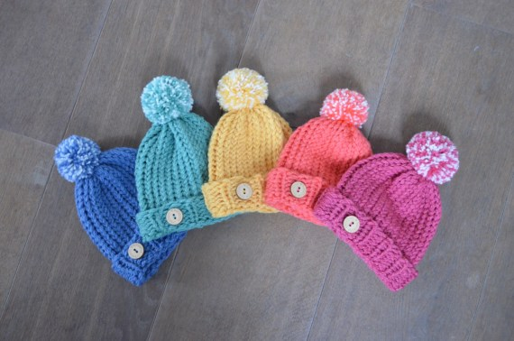 Baby Hat for a 0-6 months old with PomPom and Button - Baby Beanie in various colors (pink, orange, yellow, green, blue)