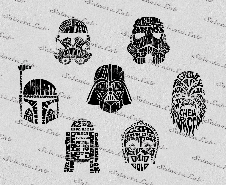 Digital Svg Typhographic Star Wars Inspired Chewbacca