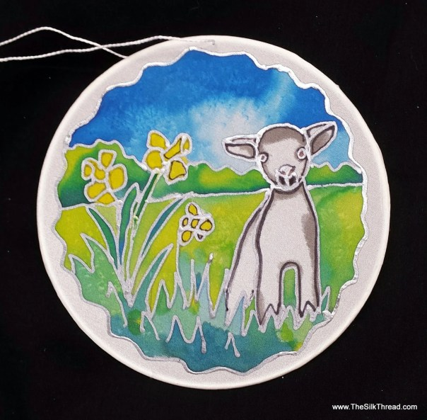 "Lamb, sheep Silk Suncatcher, whimsical hand painted silk art, 6"" diameter sun catcher, stained glass look, window art, wall decor by artist"
