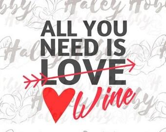 Download Heart Wine Glass Valentine Day Wine SVG cut file silhouette