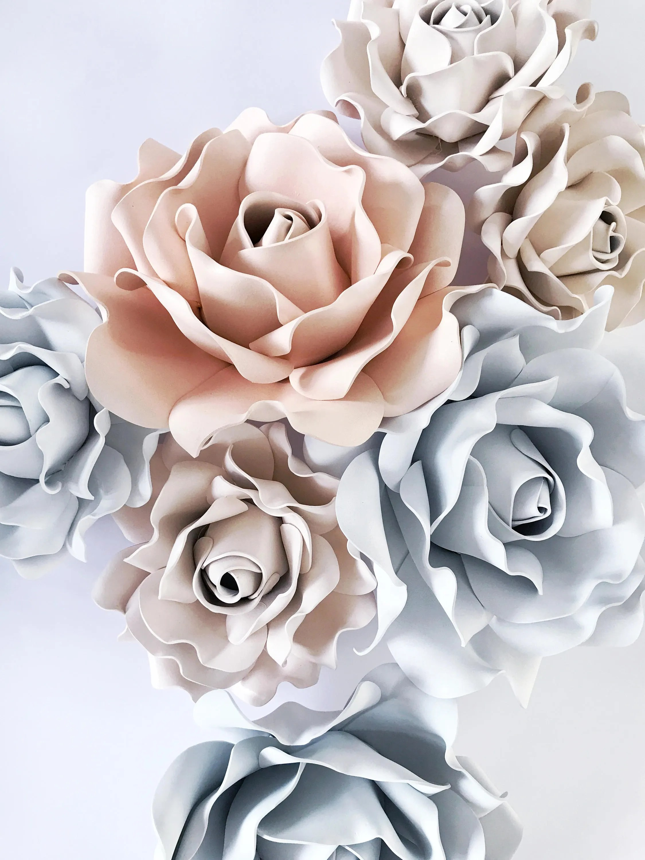 Set Of 7 Large Foam Flowers Set Of Rose Flowers Wall Decor on Hanging Wall Sconces For Flowers id=29739