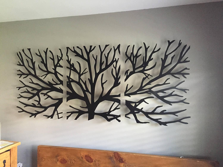 Metal Wall Art Decor 3D Sculpture 3 Piece Tree Brunch Modern