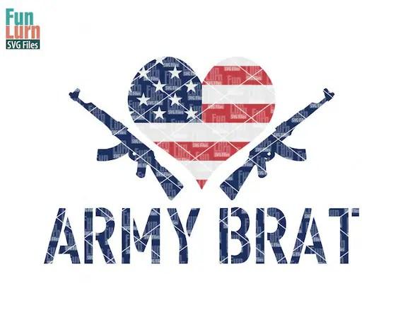 Download Army Brat SVG Love love Army heart US Flag patriotic