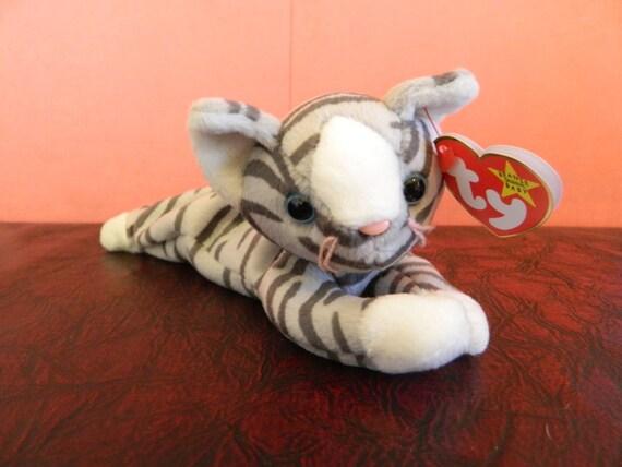 Ty Gray Striped Cat Beanie Baby Prance B