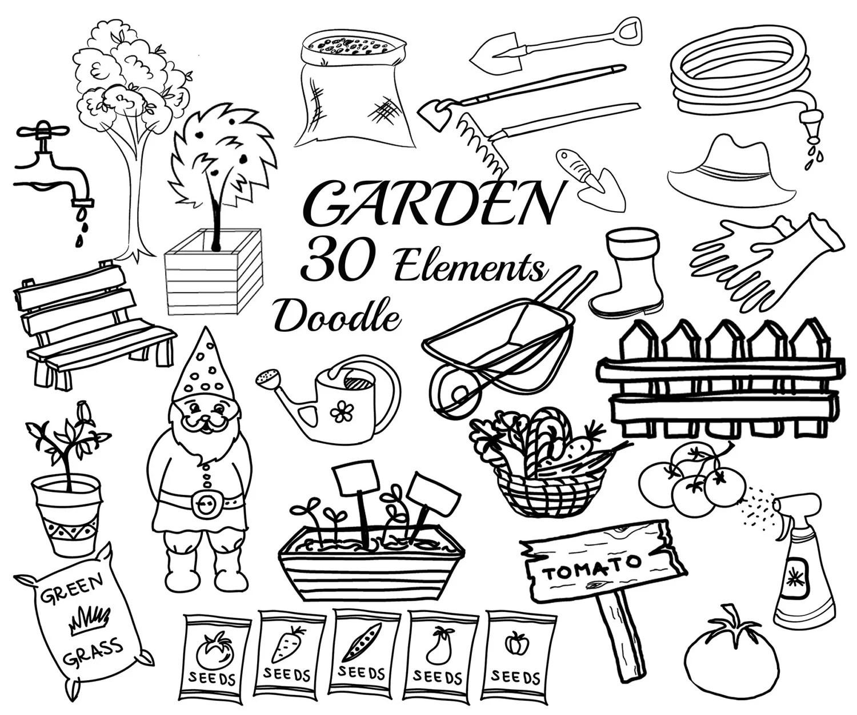Garden Doodle Clipart Garden Tools Clipart Garden