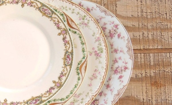 Mismatched Limoges France Vintage Pink Plates Set of 4 Dessert Plates, Plates for Wedding, Tea Party, Pastel Plates, Replacement Ch