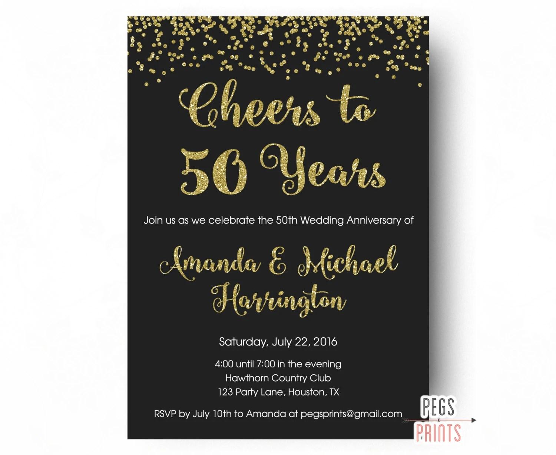 Cheers To 50 Years Invitation 50th Anniversary Invitation