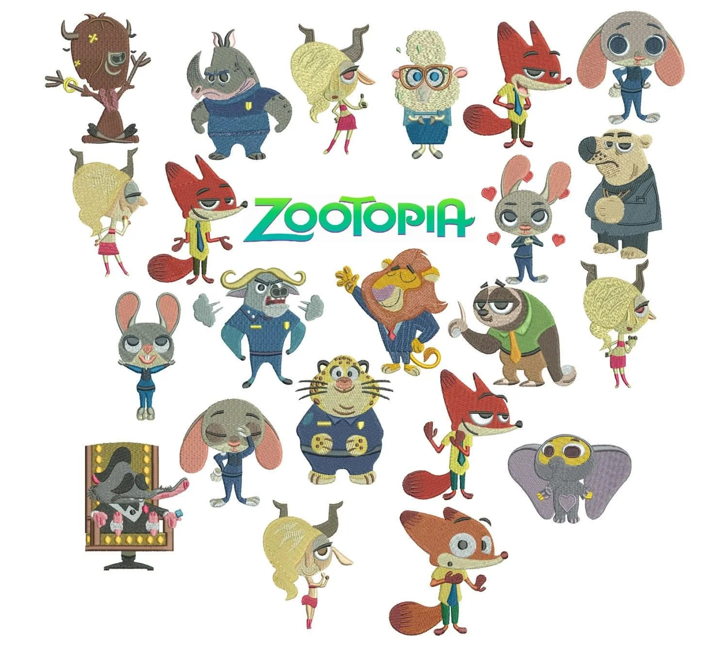 75 Off Zootopia Machine Embroidery Designs For 4x4in Hoop