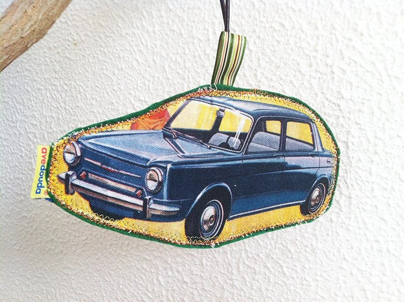 Vintage car travel tag, travel label antique car fabric pattern, luggage tag, handmade