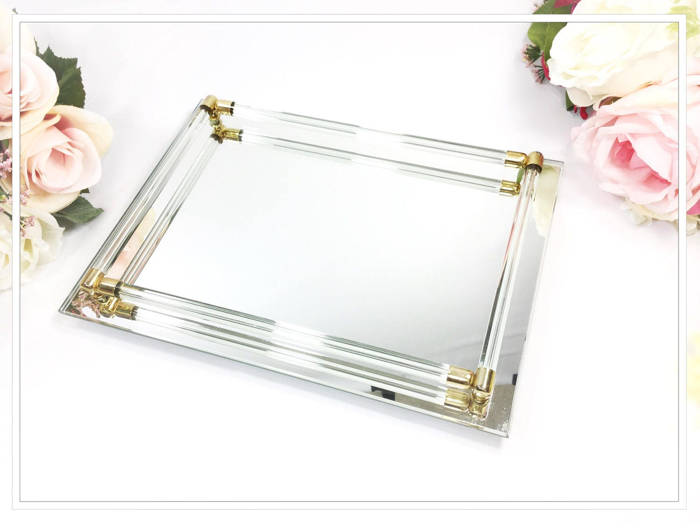 Rectangle Gold Bar Vanity Mirror Tray Antique Dresser