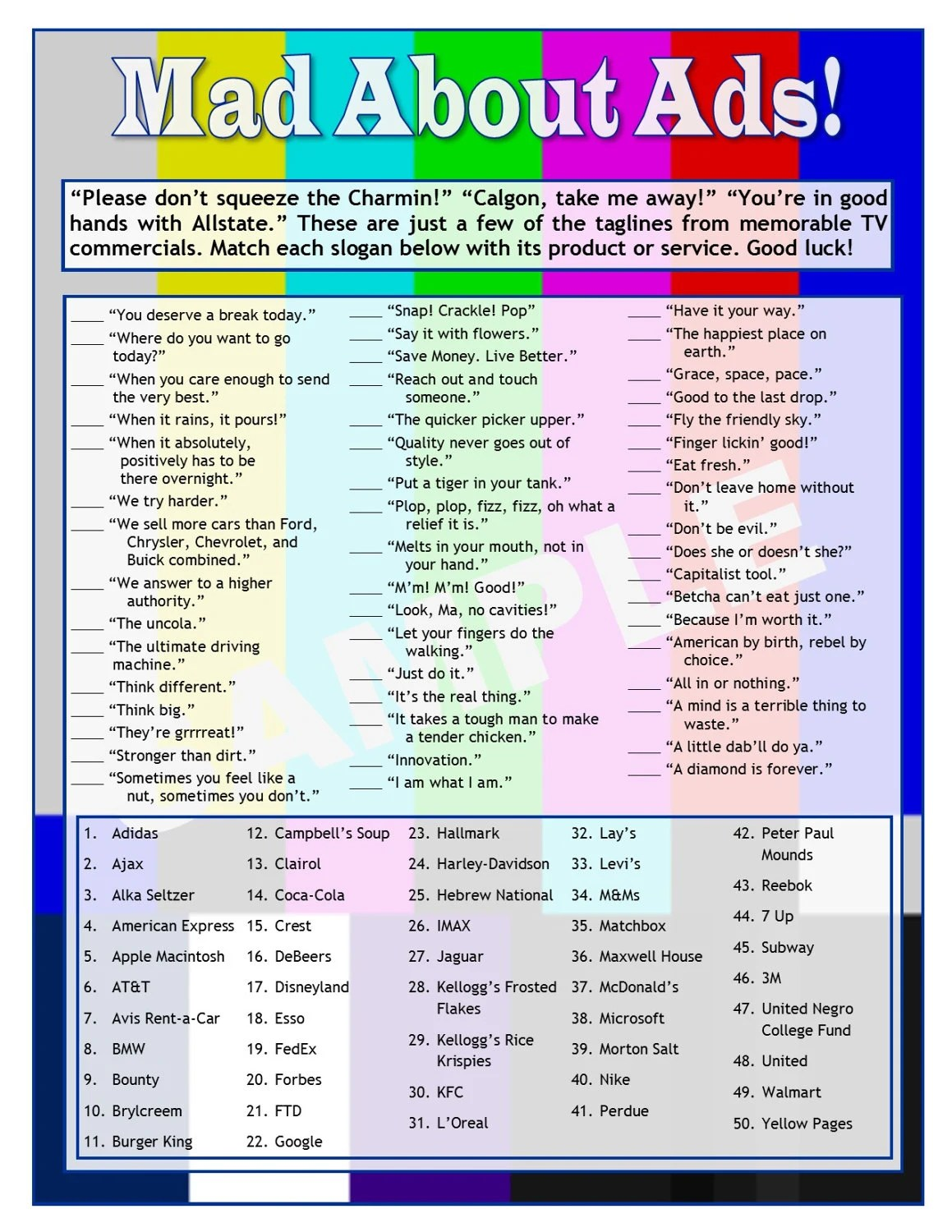 Mad About Ads Tv Slogans Printable Matching Game Tv Trivia