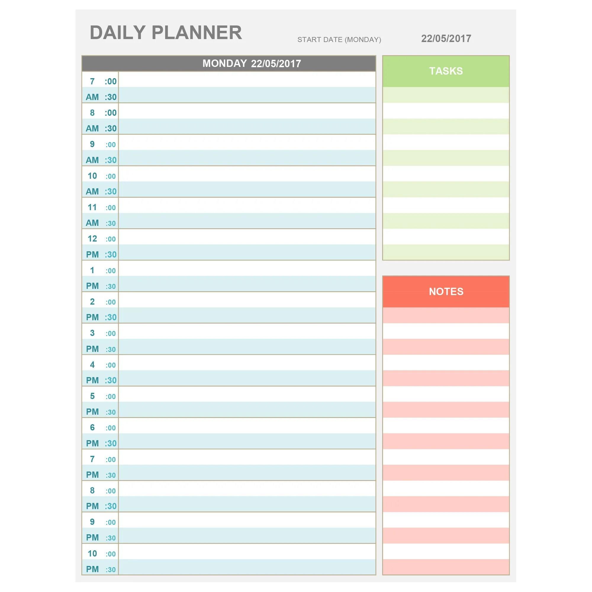 Hourly Planner Worksheet