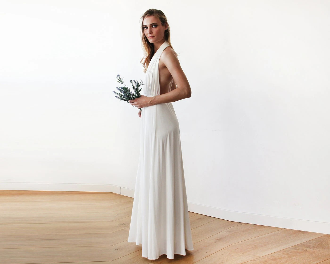 Ivory Bridal Halter-neck Maxi Gown Backless Maxi Ivory Dress