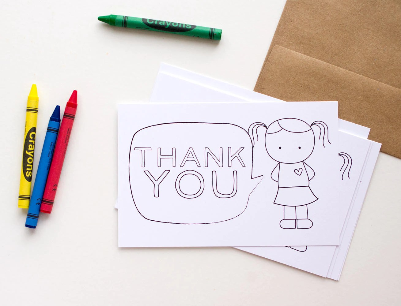 Kids Printable Thank You Card Fill In The Blank And Color