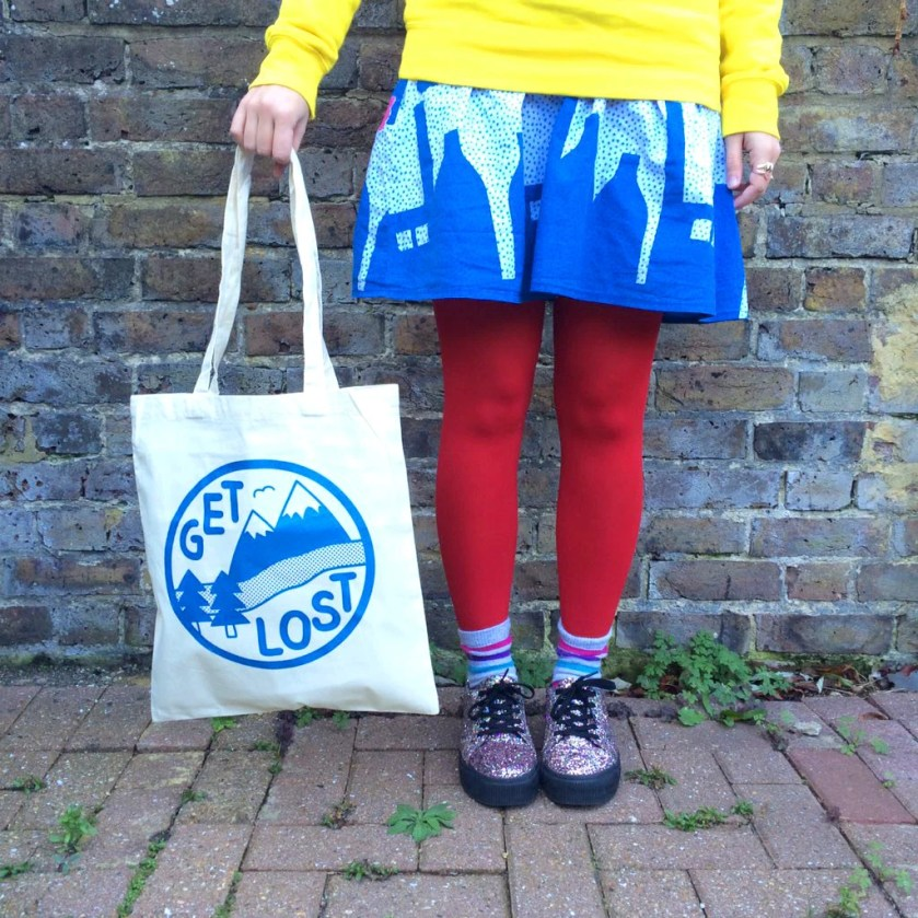 Get Lost Tote Bag, Funny Tote Bag, Adventure Print, Mountain Print, Screen Print Bag, Cute Shopper, Explore Print, Cute Tote Bag, Fun Gift