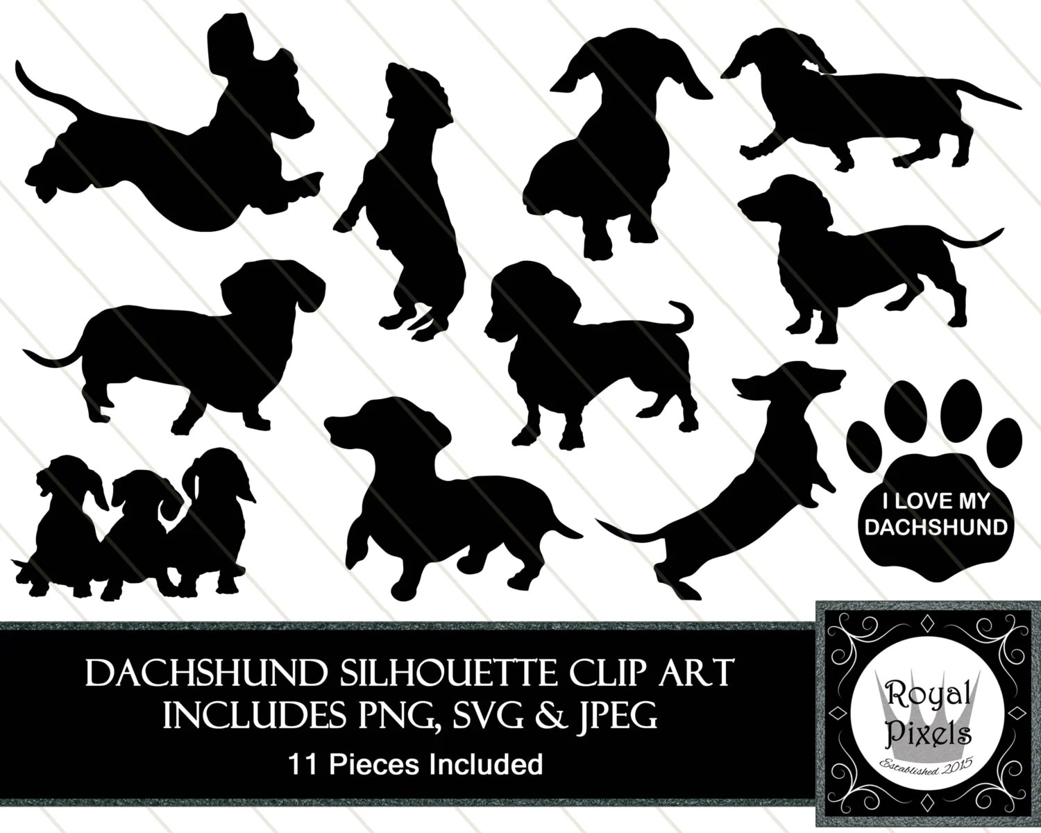 Dachshund Silhouette Clip Art Set 11 Piece Pet Dog