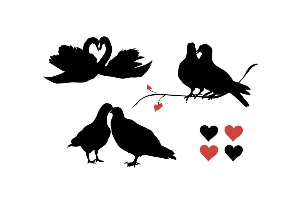 Download love birds svg love swan pigeon dove harts silhouette ...