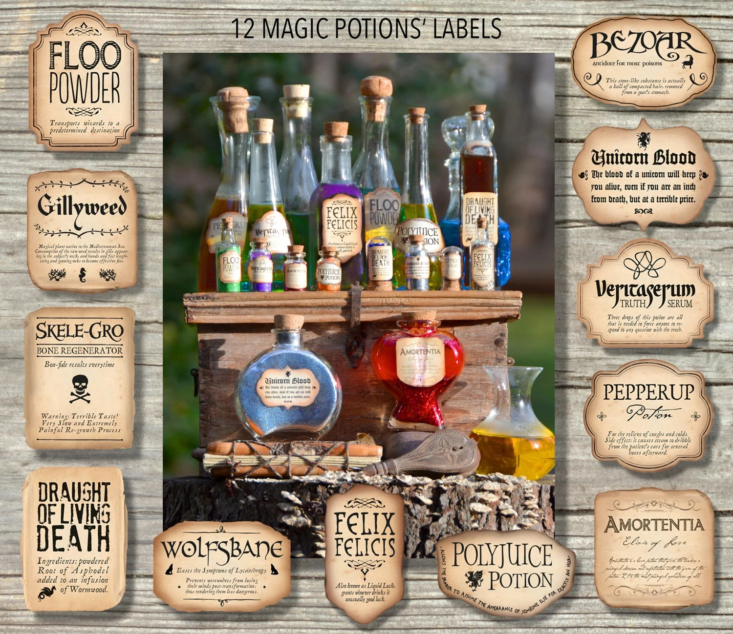 12 Harry Potter Inspired Magic Potions Labels Printable