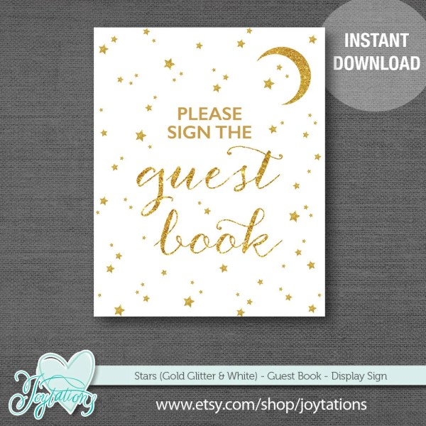 Gold Glitter and White Stars Guest Book Sign, Baby Shower ...