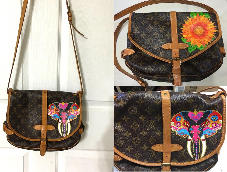 fe5b49f96bcf Louis Vuitton Hand Painted Monogram Shopper Bag For Sale Free ...