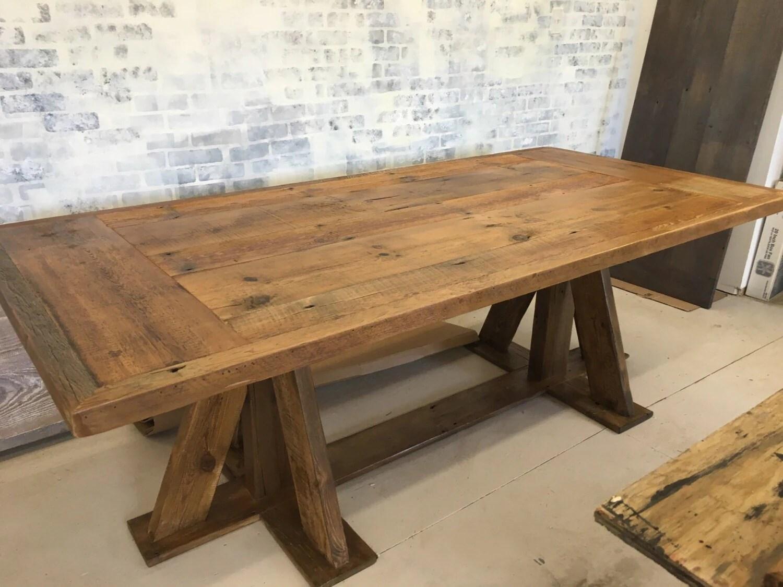 Reclaimed Wood Trestle Base Dining Table Farm Table 8 Ft