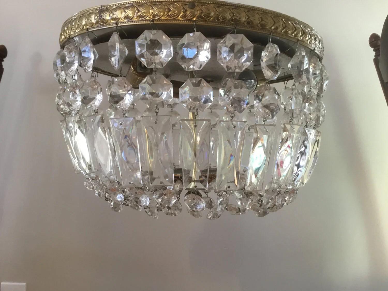 Vintage Italian Crystal Beaded Flush Mount Chandelier