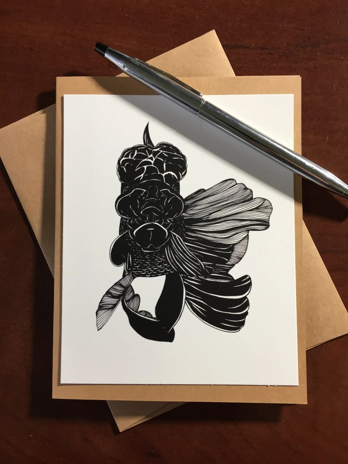 Black Lion Fish Note Card...