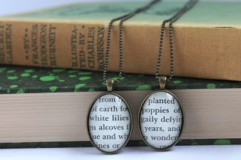 secret garden necklace - book page jewelry - teacher pendant - gardener gift necklace - book club gift idea - Mother's Day gift jewelry