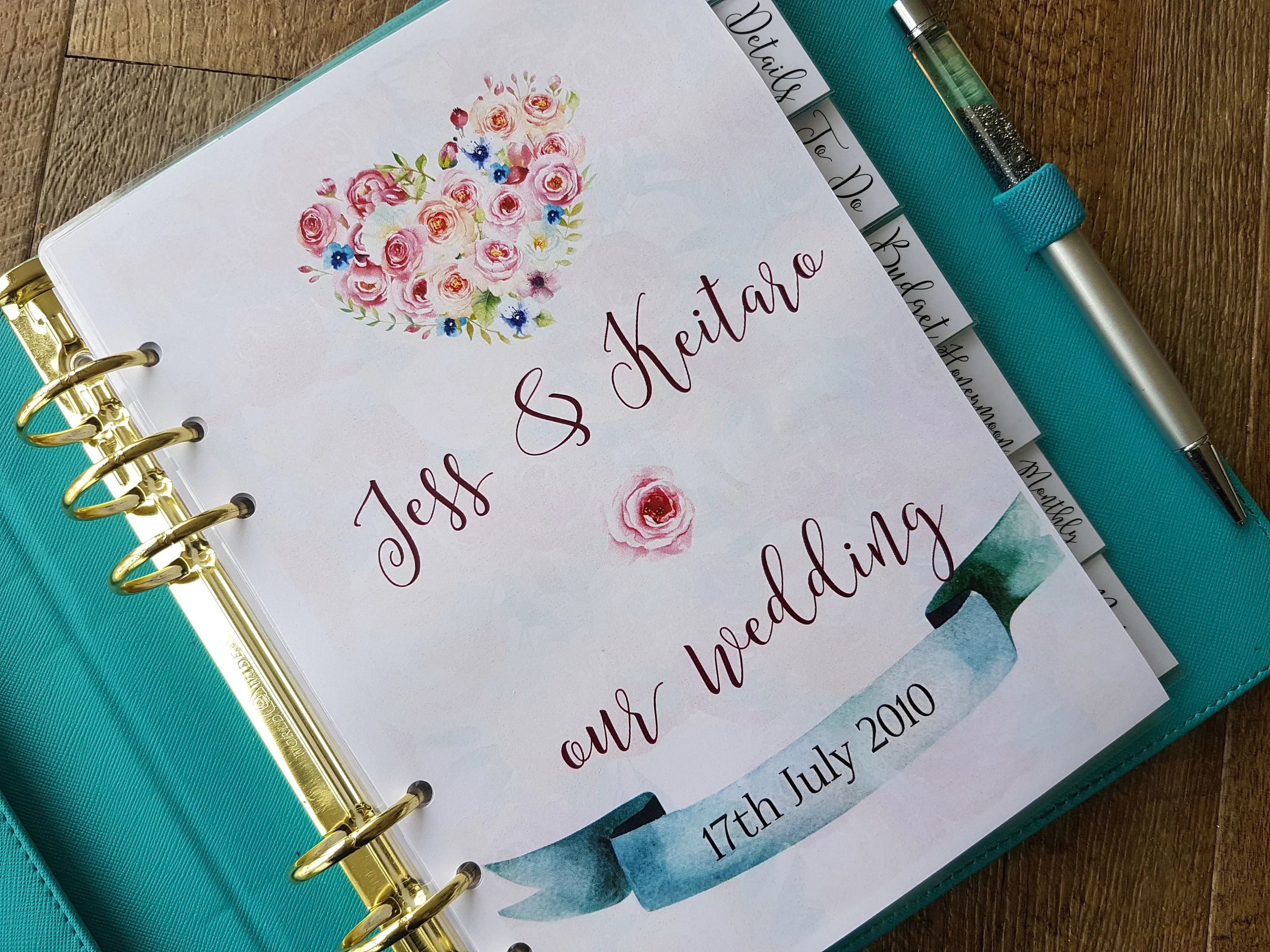 Printed A5 Wedding Planner Bundle With 7 Dividers Dashboard