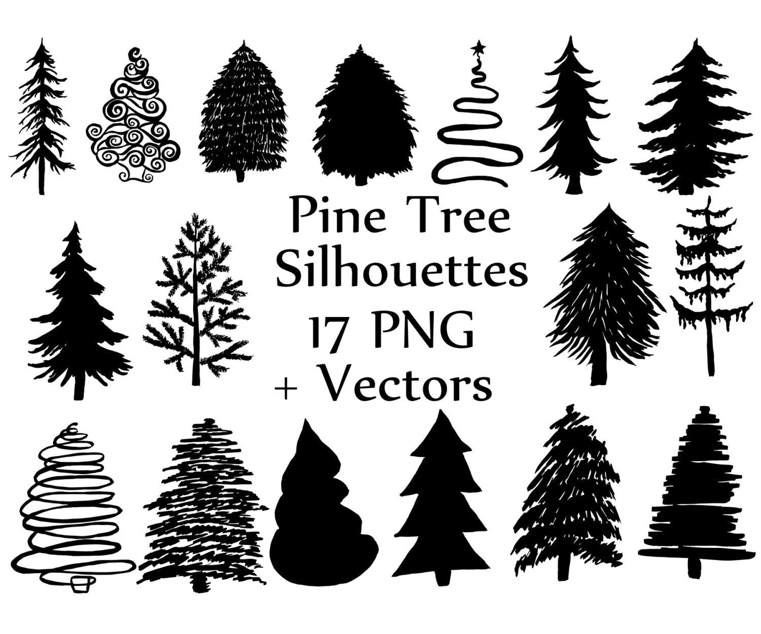 Christmas Tree Silhouette Clipart Pine Trees Clipart