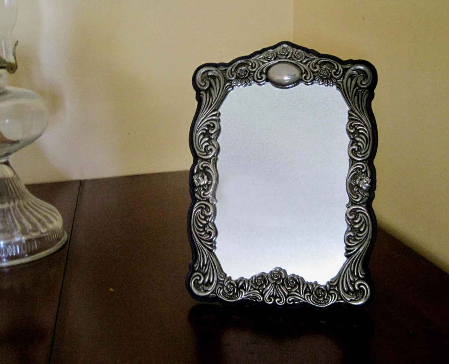 Vintage Frame Mirror Repousse Silver Blue Velvet Backing