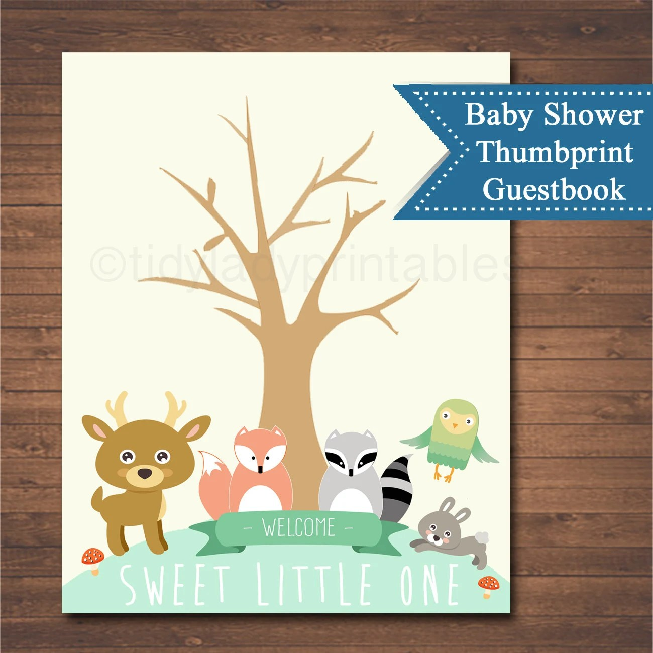 Forest Animals Woodland Baby Shower Thumbprint Tree Instant
