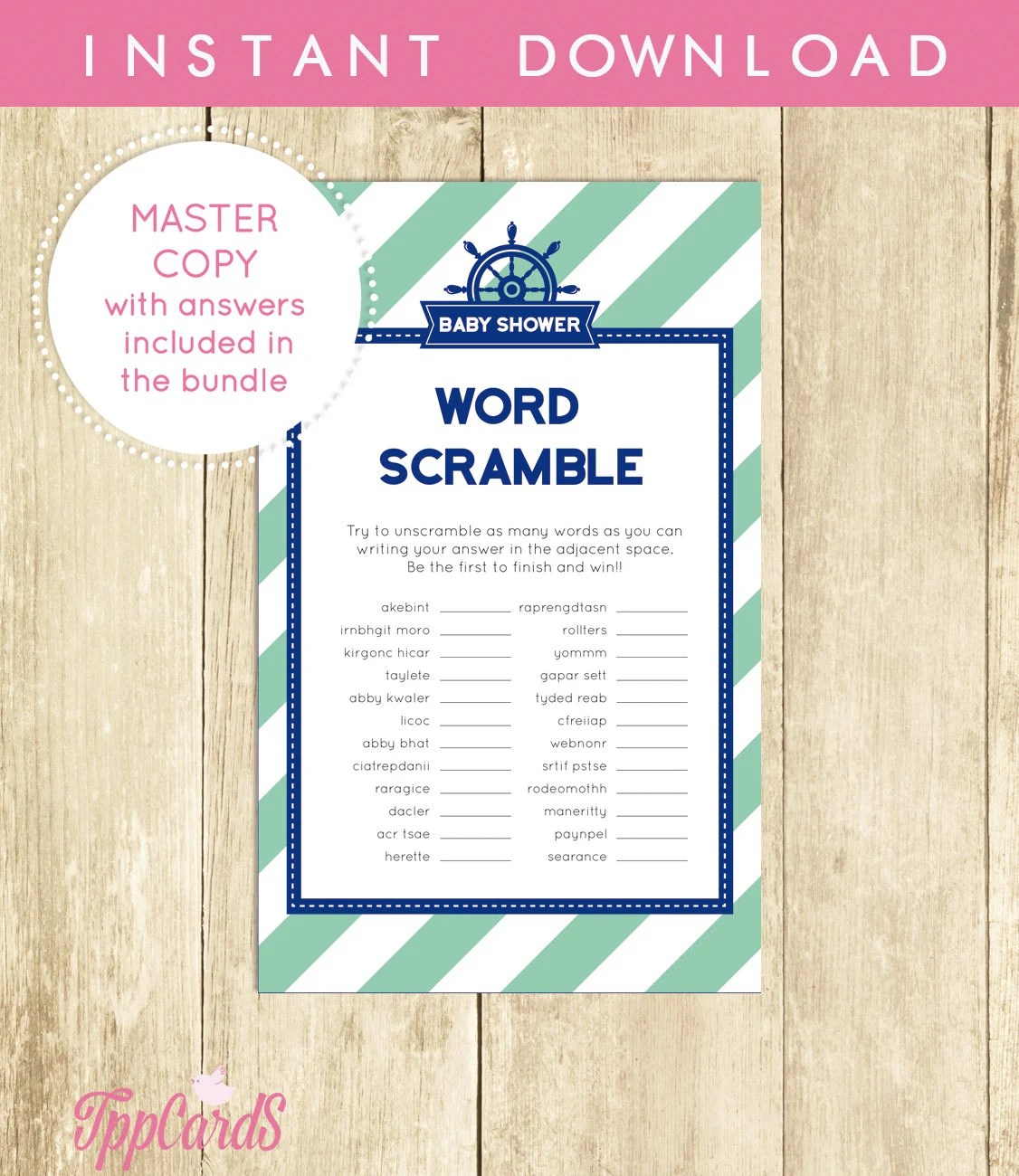Baby Shower Word Scramble Game Printable Digital Instant