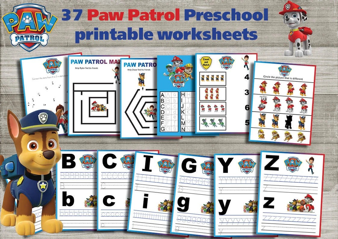 Paw Patrol Printable Preschool Worksheet