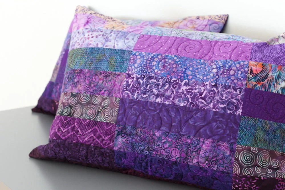 Quilted Pillow Shams Set Of Two Purple Modern Patchwork